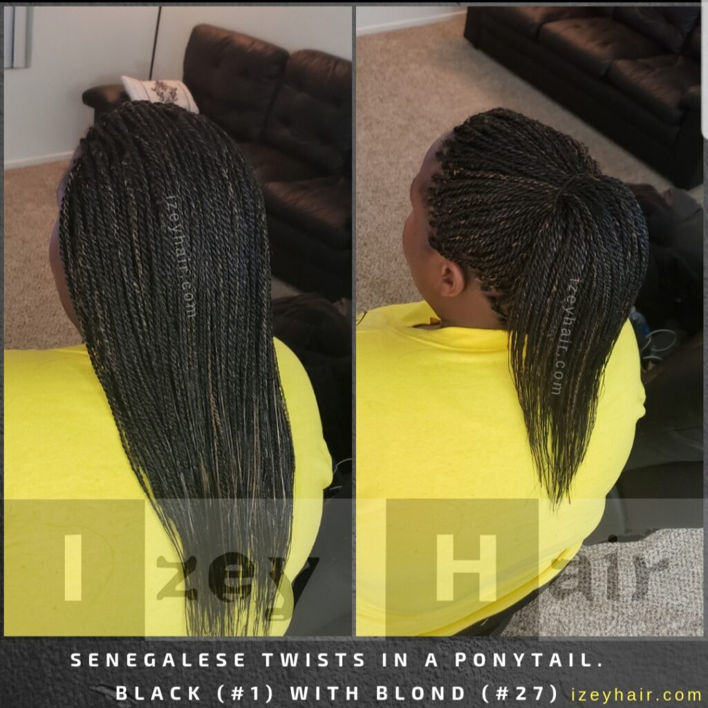 Senegalese Twist in a Ponytail. Black and Blond