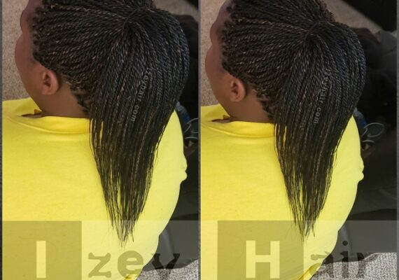 Senegalese Twists in a Ponytail. Black (#1) with Blond (#27)- Izey Hair - Las Vegas, NV