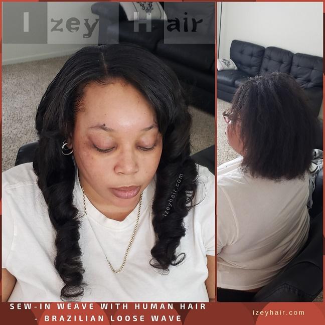 Sew-In Weave with Human Hair - Brazilian Loose Wave Bundles- Izey Hair - Las Vegas, NV
