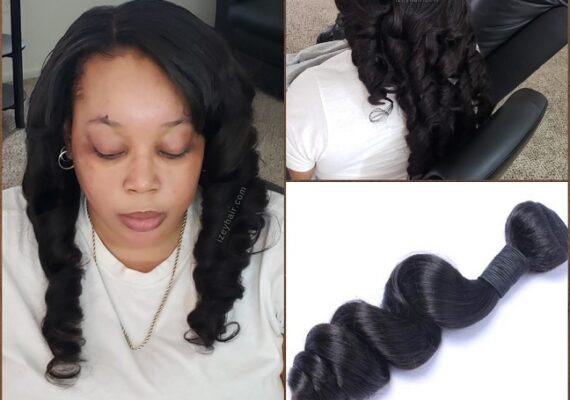 Sew-in Weave with Brazilian Loose Wave Hair Bundles - Izey Hair - Las Vegas, NV
