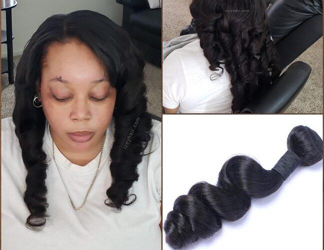 Sew-in Weave with Brazilian Loose Wave Hair Bundles - Izey Hair - Las Vegas, NV
