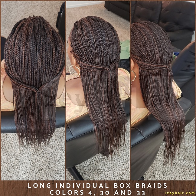 Long Individual Box Braids 2019 - Colors 4, 30 and 33 - Las Vegas, NV - Izey Hair