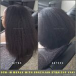 Natural-Looking Sew-in Weave with Brazilian Human Hair Yaki.
