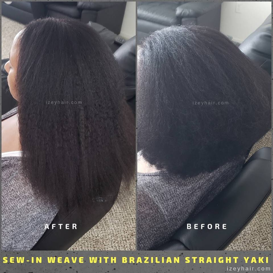 Natural-Looking Brazilian HumanHair Yaki. More photos of braids and sewinweaves IzeyHair