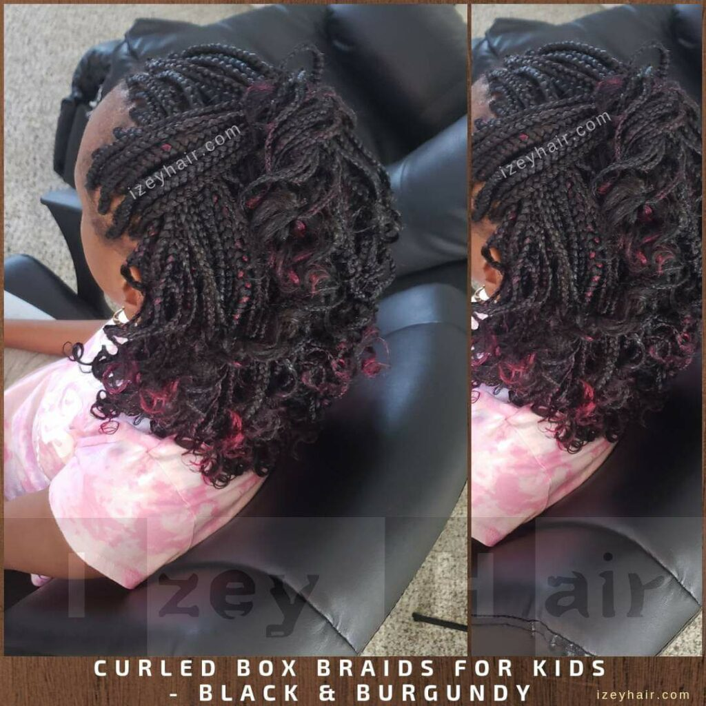 Braids for kids. Box Braids. Black and Burgundy