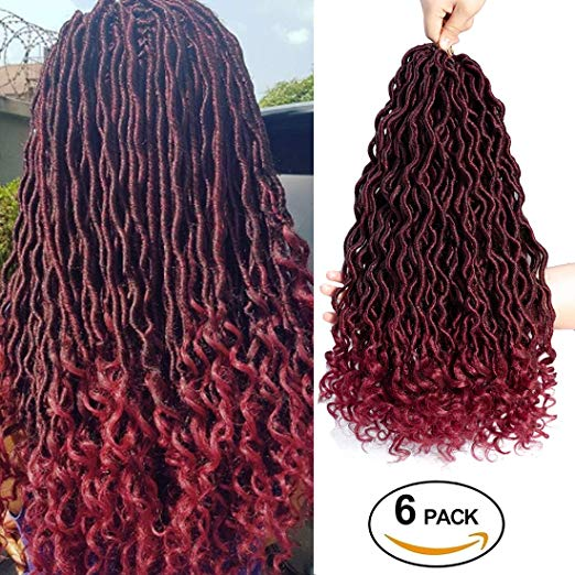 Burgundy Goddess Locs Crochet Hair Bundles