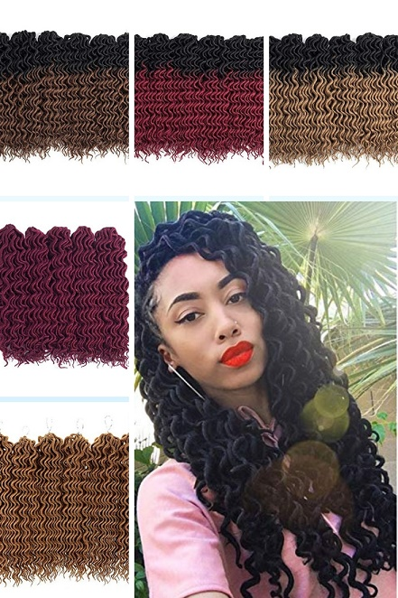 Curly Faux Locs. Blond, Red, Burgundy, Brown and Ombre