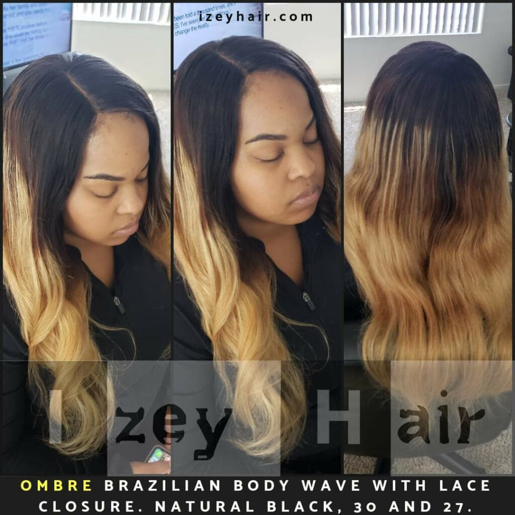Ombre Brazilian Body Wave Sew in Weave with Lace Closure. Colors: 1B (Natural Black), 30 (Medium Auburn) and 27 (Blond)
