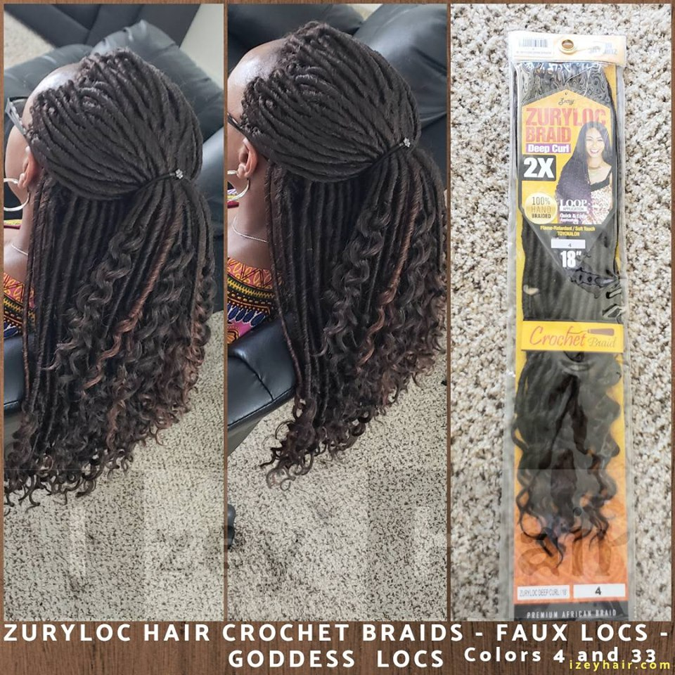 ZuryLoc Hair Crochet Braids - Faux Locs - GODDESS LOCS - Colors 4 and 33 - Las Vegas, NV