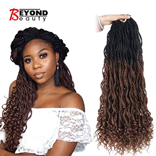 Color 1B and 30 -  Crochet Box Braids With Curly Ends