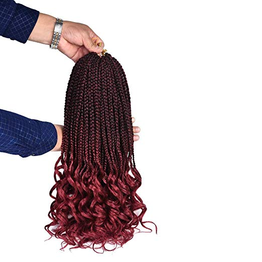 Crochet Box Braids With Curly Ends - Burgundy