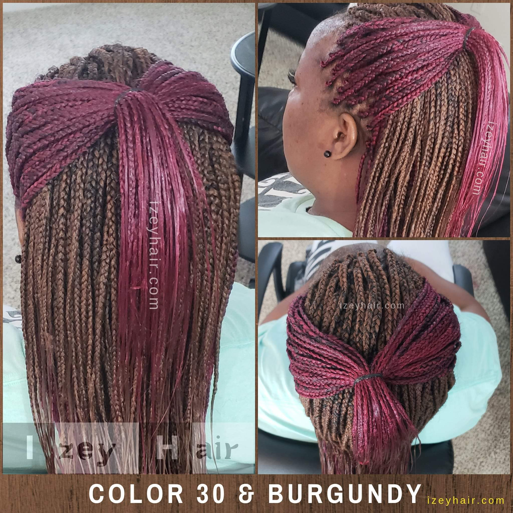 Color 30 and Burgundy Individual Box Braids
