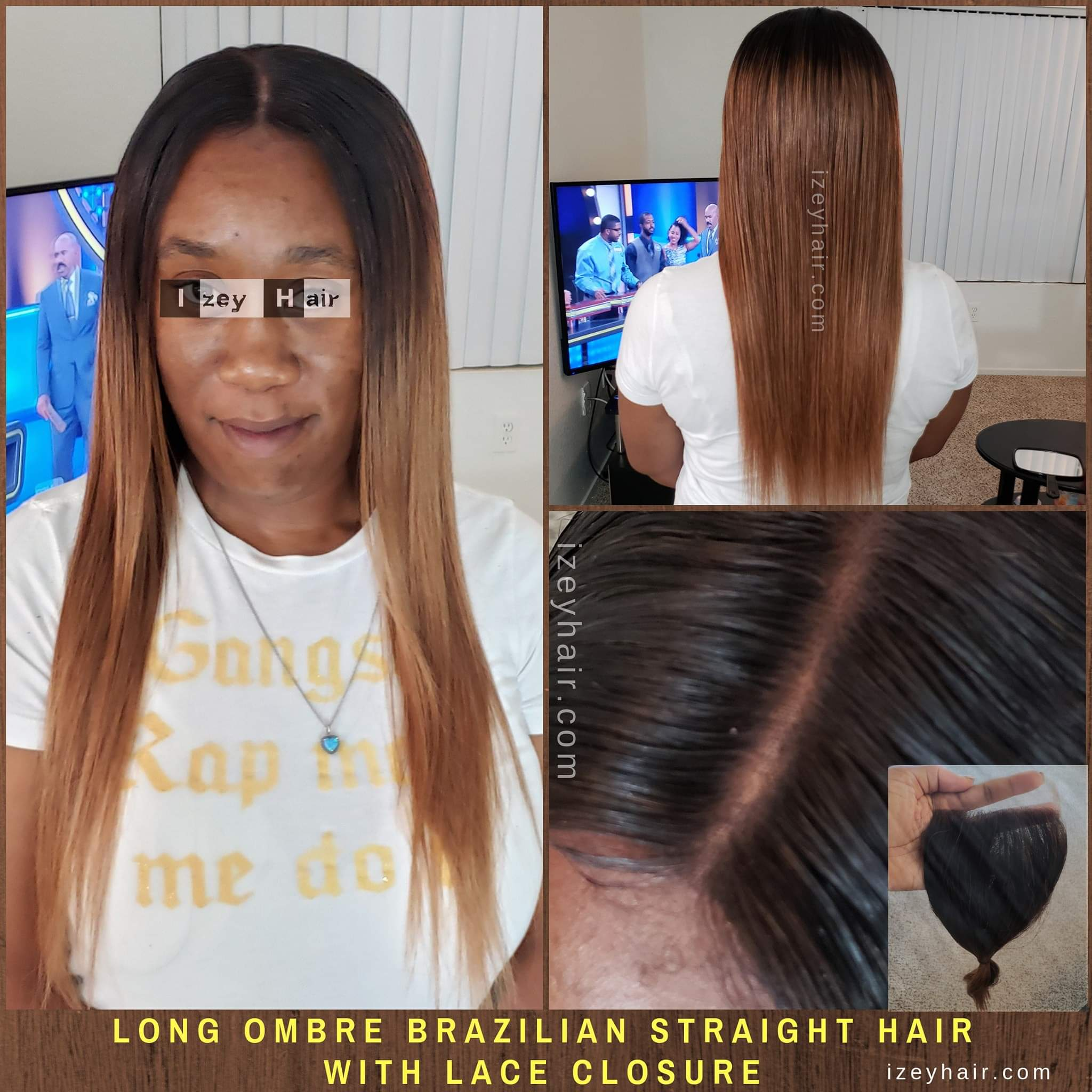 Long Ombre Brazilian Straight Hair with Lace Closure - Colors Black and Blond