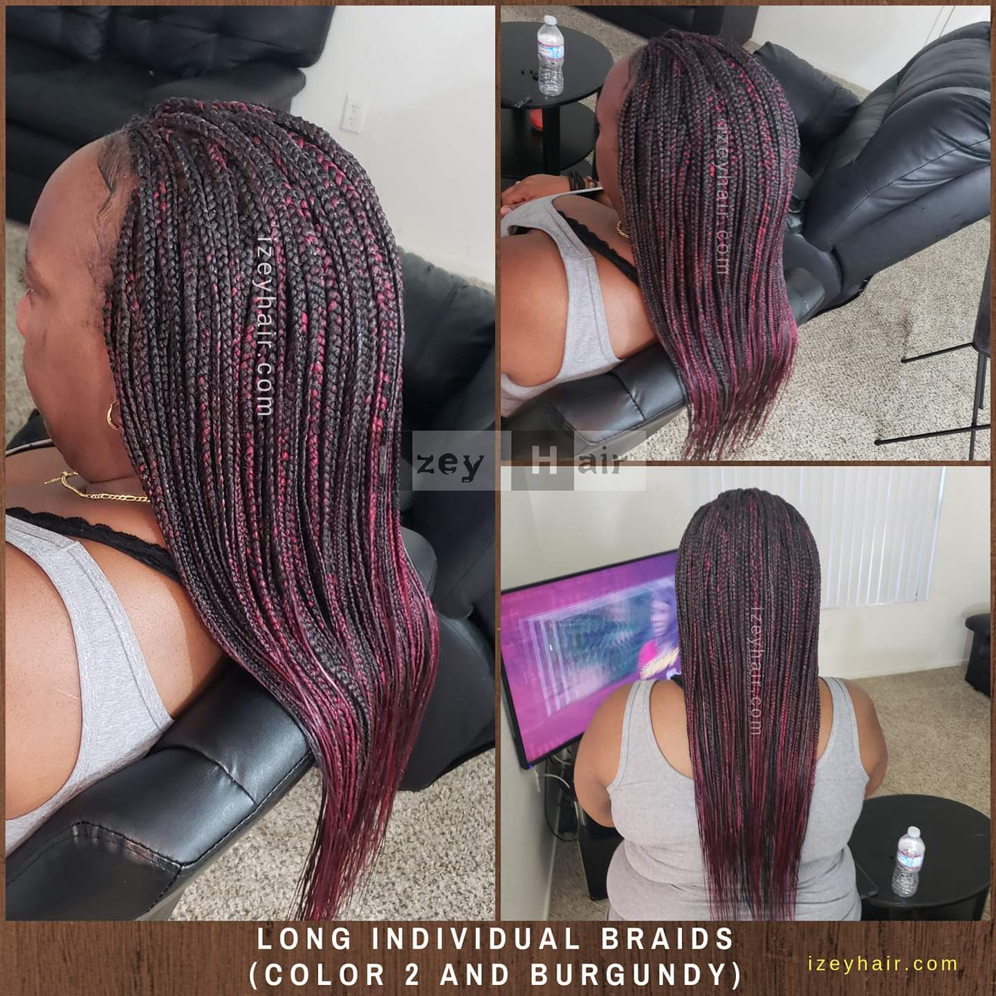 Long Waist-length Individual Box Braids - Color 2 and Burgundy
