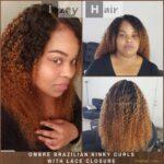 Ombre Brazilian Kinky Curls - Bundles and Closure