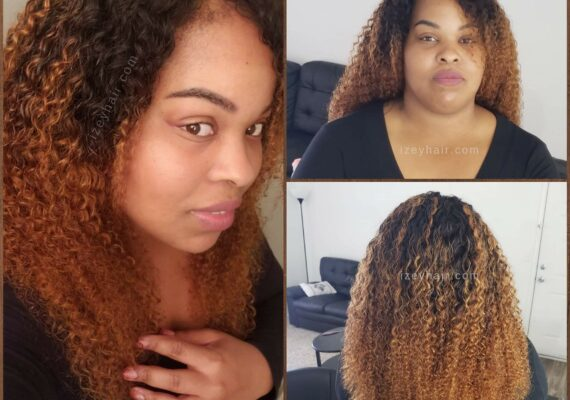Ombre Brazilian Kinky Curls - Bundles and Closure