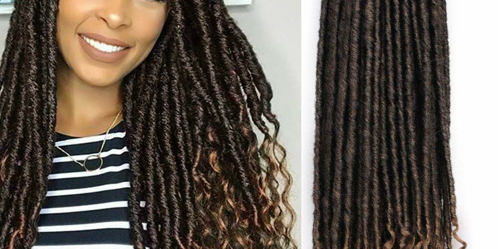 1B/27 - 20 Inches - Goddess Locs - Crochet Hair Braiding - Pre-Looped Faux Locs with Curly Ends