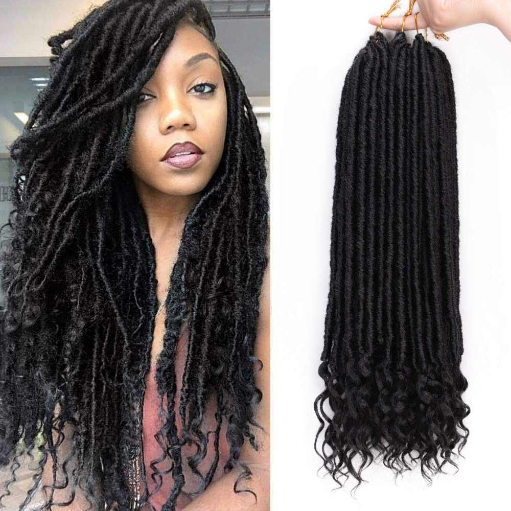 20 Inches - Goddess Locs - Crochet Hair Braiding - Pre-Looped Faux Locs with Curly Ends