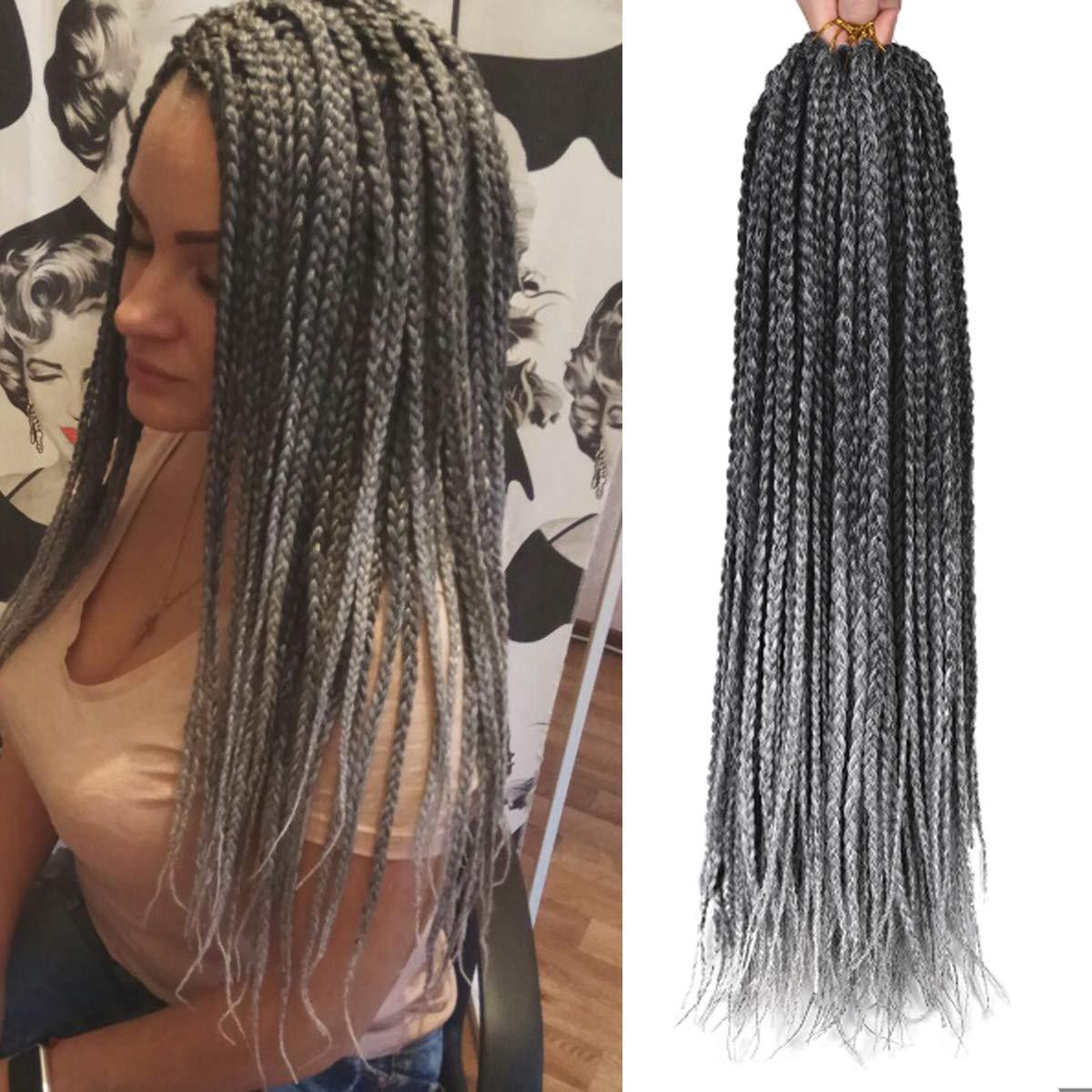 24 Inch, 22 Strand, Grey Ombre Box Braids - Crochet Braids