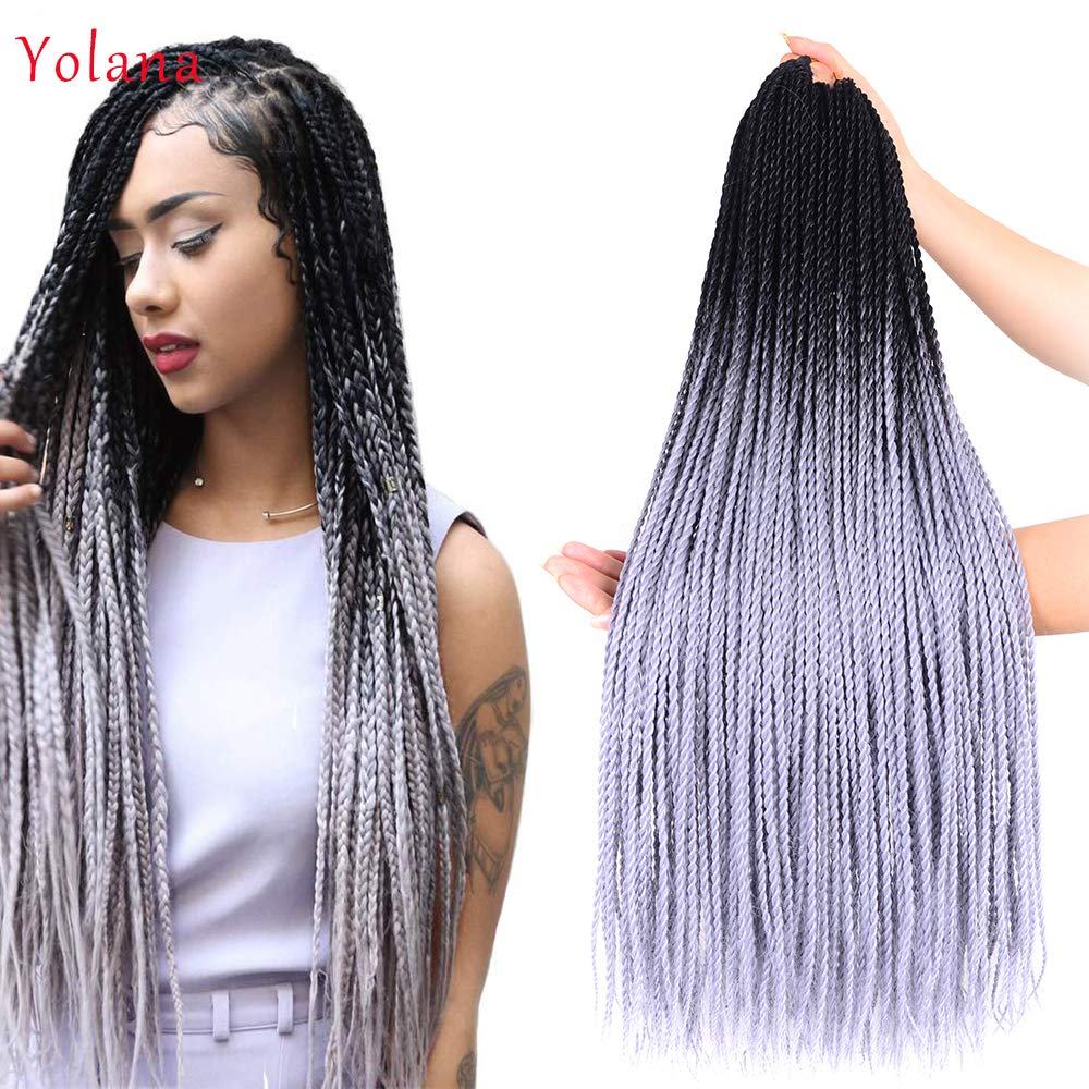 24 inch - Crochet Senegalese Twist - Crochet Hair Twists (Black, Silver Gray)