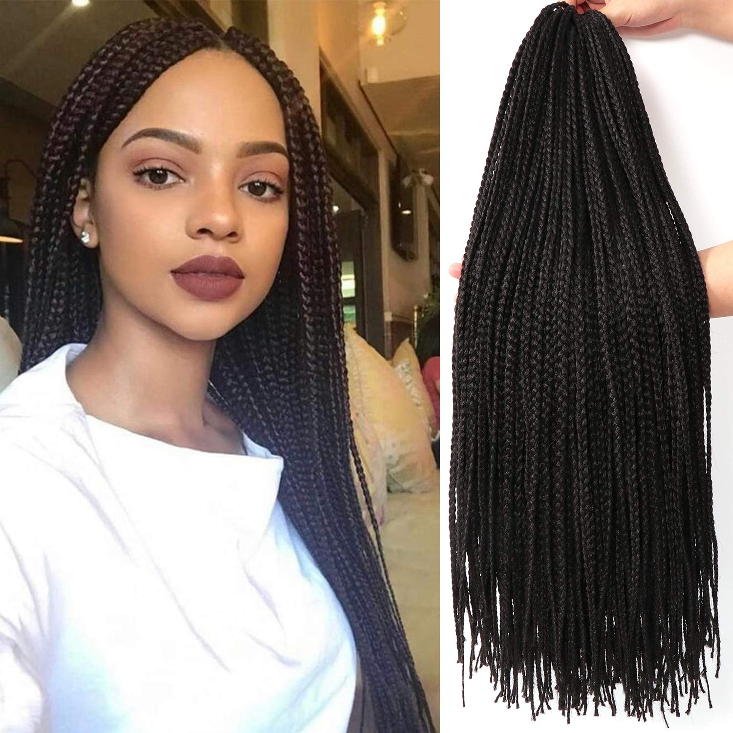 26 Inch, 7 Packs, Long Box Braids - Crochet Braids