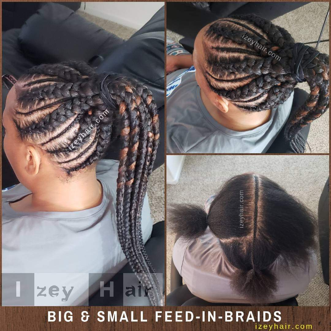 Big and Small Feed-in Braids/Cornrows in a Ponytail (1B and 30)