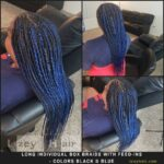 Box Braids with Feed ins - Black and Blue
