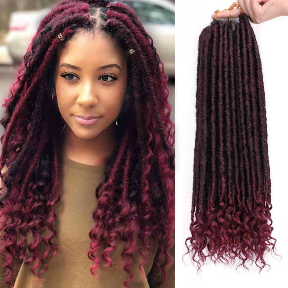 Burgundy - 20 Inches - Goddess Locs - Crochet Hair Braiding - Pre-Looped Faux Locs with Curly Ends