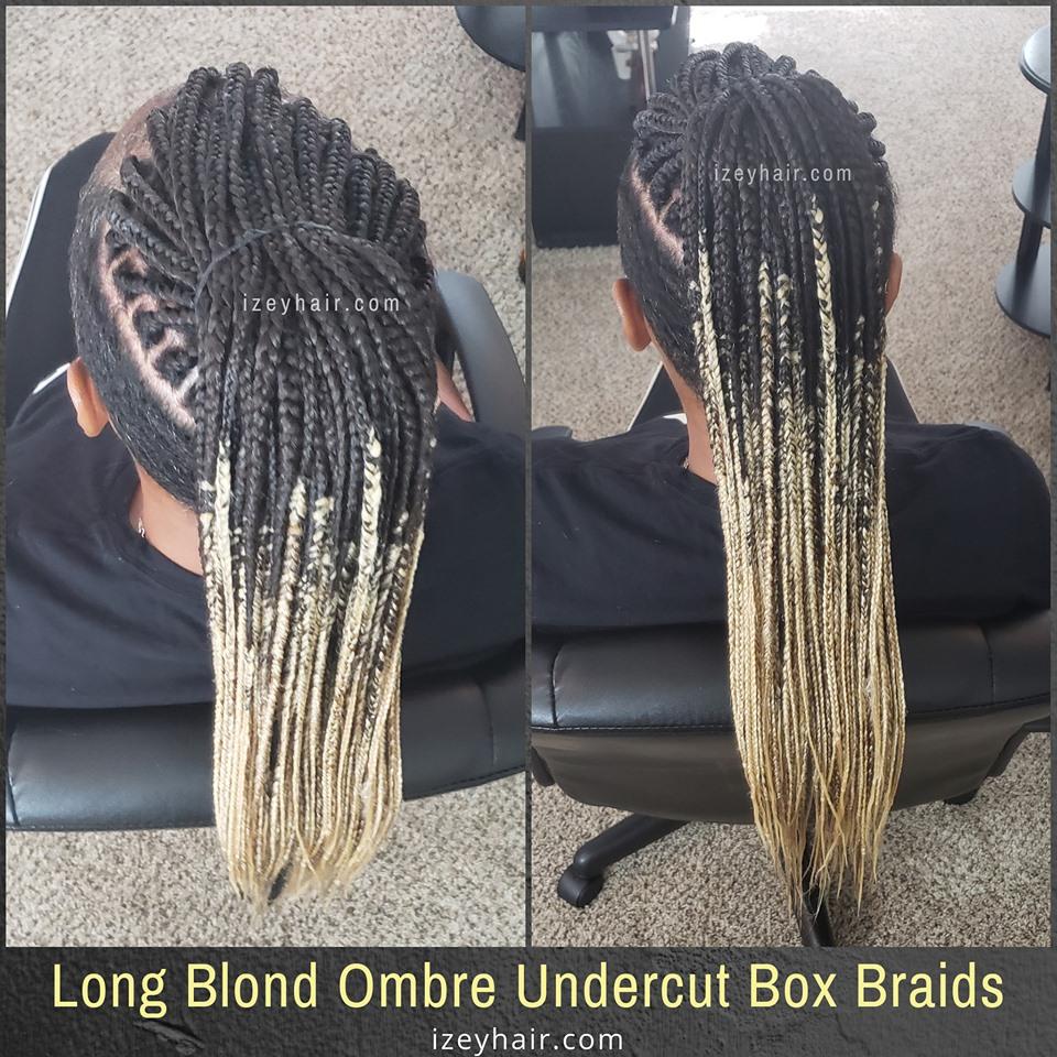 Undercut Shaved Sides Long Ombre Box Braids (Blond 27 613 -Black 1B)
