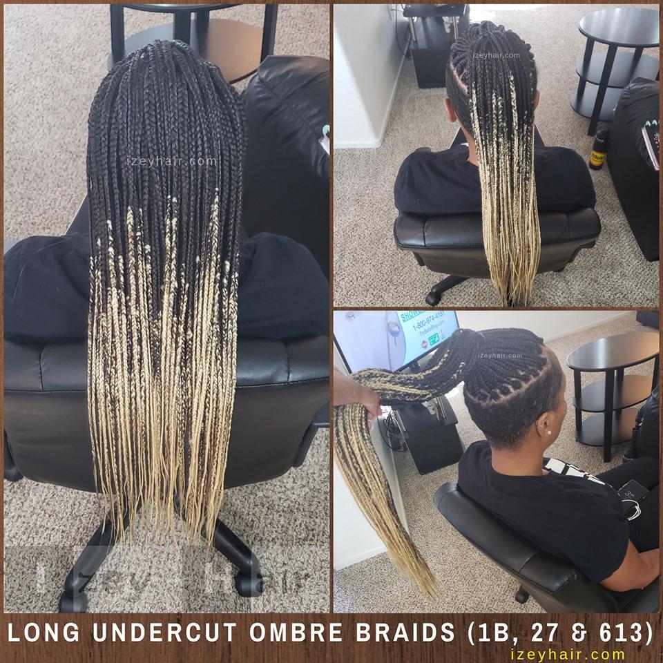 Undercut Shaved Sides Long Ombre Box Braids Colors 27 613 1B)
