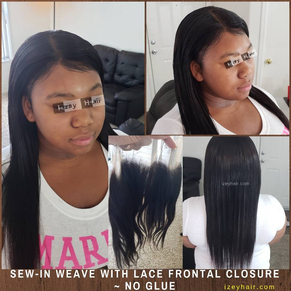 Sew in Weave with Lace Frontal Closure (No Glue)
