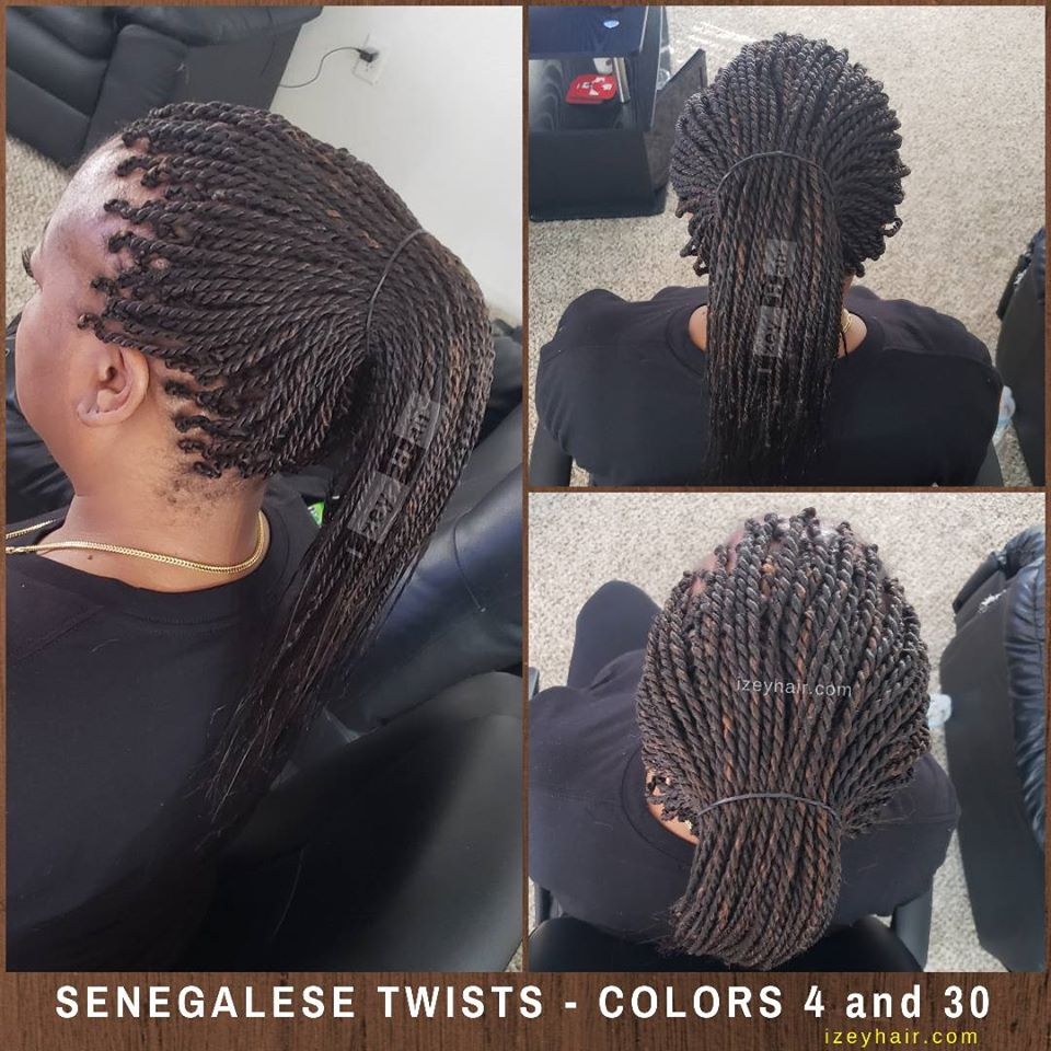 Senegalese Twists in a Ponytail. Colors 4 and 30