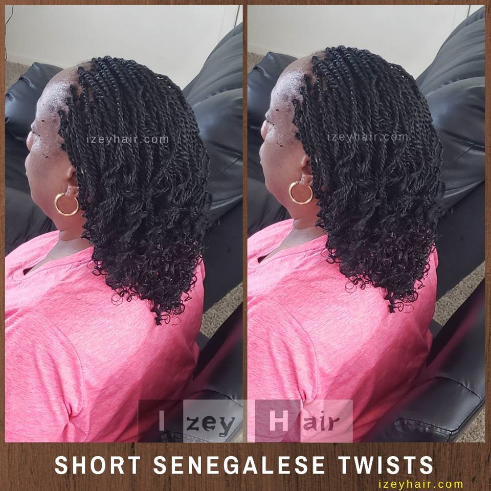 Short Senegalese Twists Curled with Flexirods