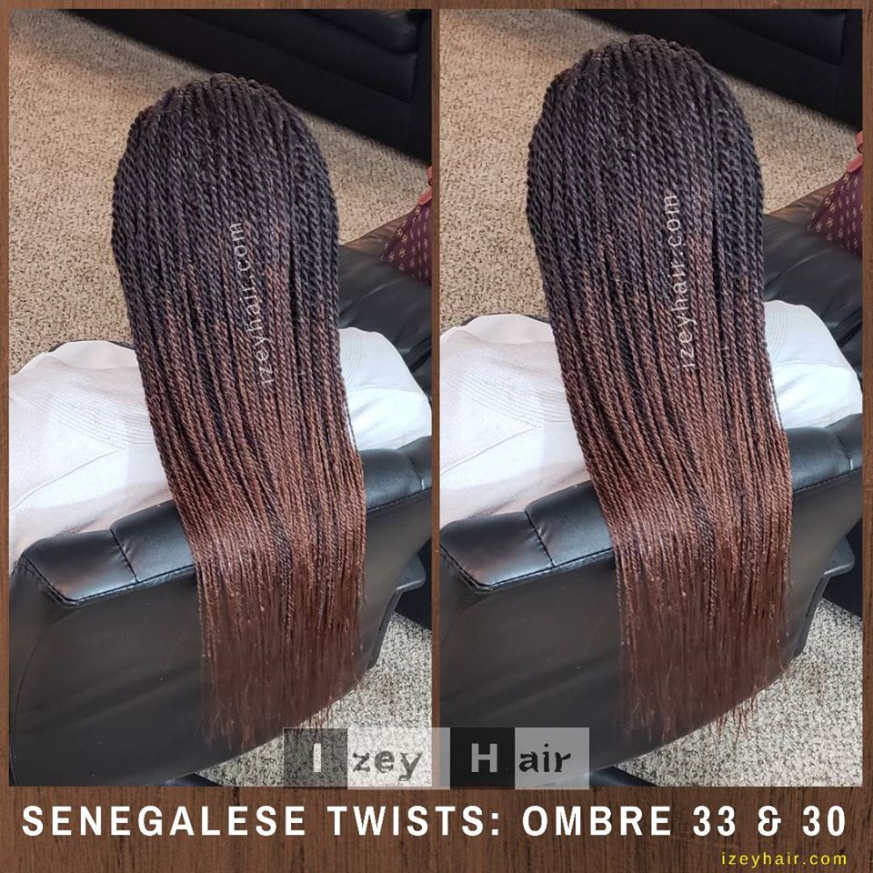 Long Small Senegalese Twists (Ombre 33 and 30)
