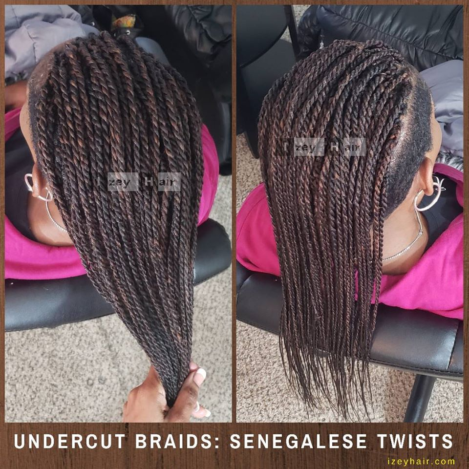 Undercut Senegalese Twists (Shaved Sides) - Color 30 and 4