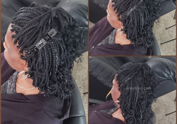 Individual Braids - Box Braids - Black and Grey