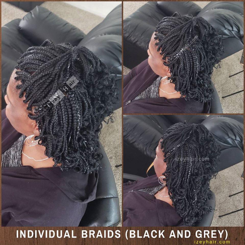 Individual Braids - Box Braids - Black and Grey