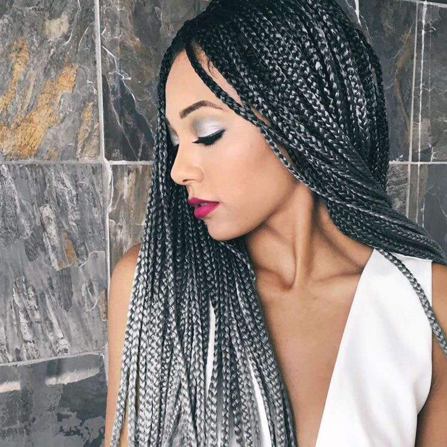 Salt and Pepper Braids - Crochet Box Braids - Ombre Grey Gray Braids