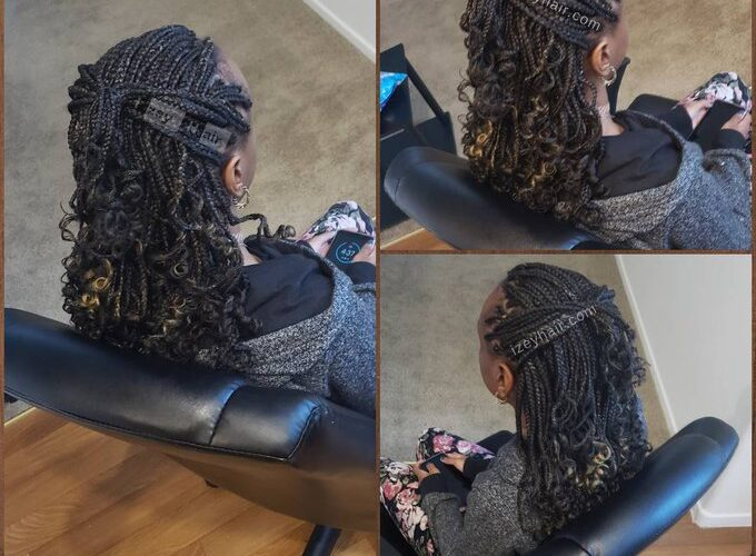 Kid Braid Style: Box Braids with Curly Ends and Blond Highlights