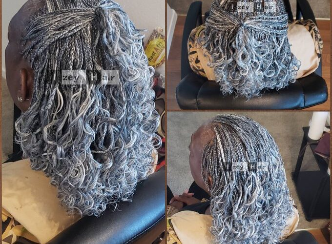 Salt and Pepper Micros (Microbraids) With Extra Silver Highlights