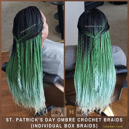 St. Patrick's Day Ombre Crochet Braids – Green Braids (Individual Box Braids) - Izey Hair - Las Vegas, NV