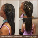 Senegalese Twist with Feedin Braids (Cornrows) - Black with blond highlights and gold cuff decorations