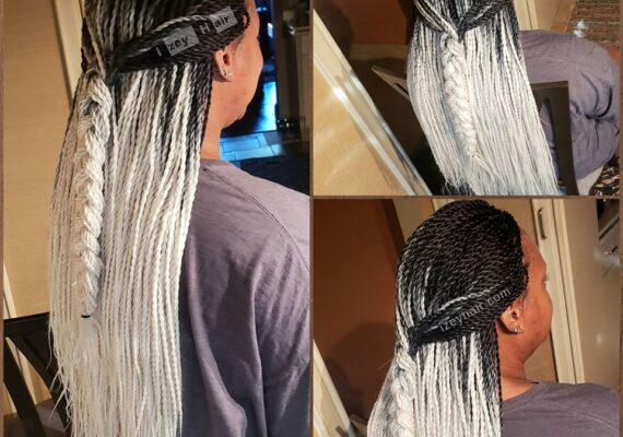 Black and White Ombre Crochet Braids. Crochet Senegalese Twist