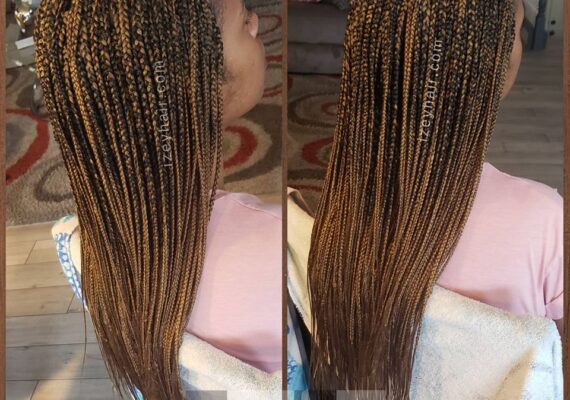 Color 27, Blond, Long Individual Box Braids