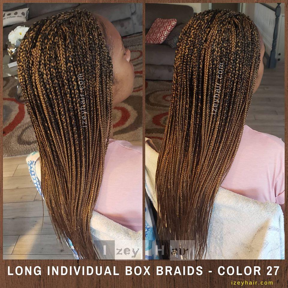 Color 27, Blond, Long Individual Box Braids