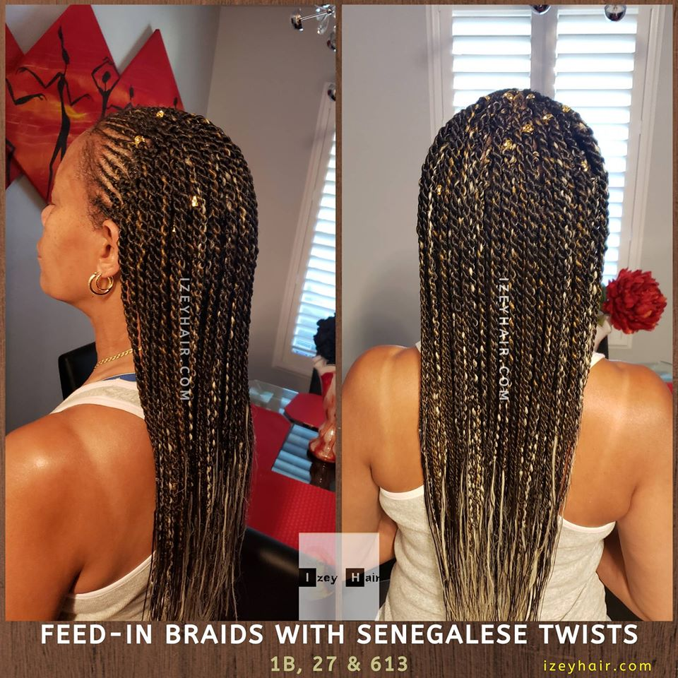 Feed-in Braids with Senegalese Twists. Colors 1B (off black), 27 (blond) and 613 (platinum blond).