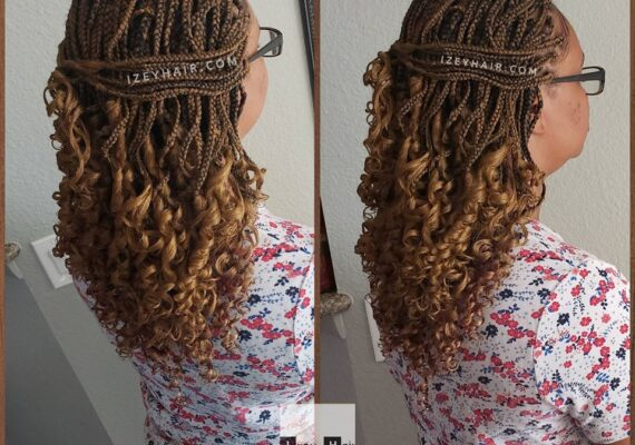 Medium-Sized Individual Box Braids With Curls - Color 27 Blond
