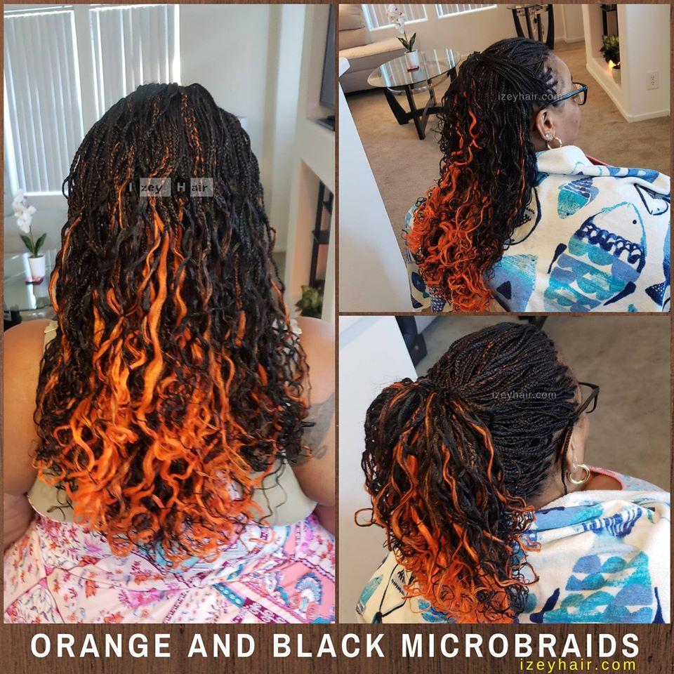 Orange and Black Microbraids