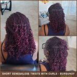 Short Burgundy - Purple Senegalese Twists With Curls