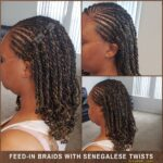 Short Curly Senegalese Twists With Feed-in Braids